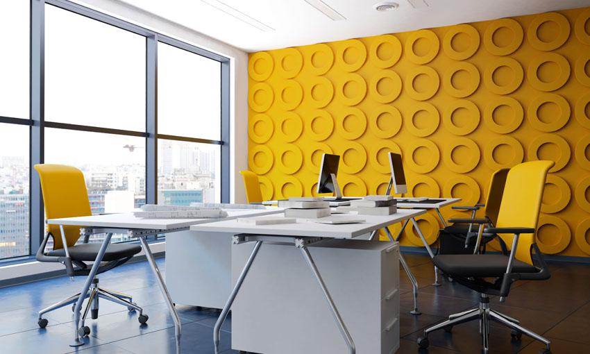 Oficinas en color amarillo mostaza