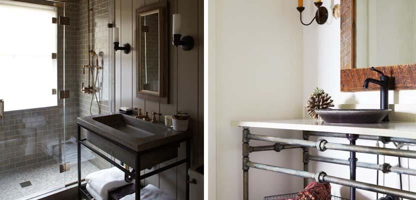 Baño de estilo industrial como inspiracion para reformas de baños pequeños