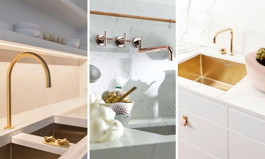 Griferia dorada en cocinas o baños, una de las tendencias 2019 que mas veremos en reformas y decoracion del hogar