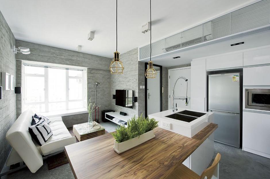 Abrir la cocina al salon para conseguir mayor espacio y luz