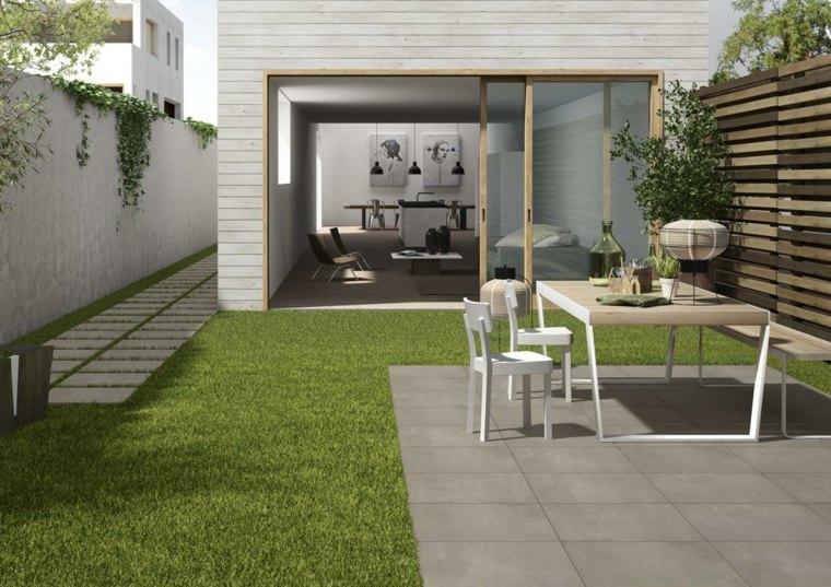 Combinacion de cesped y gres para terrazas