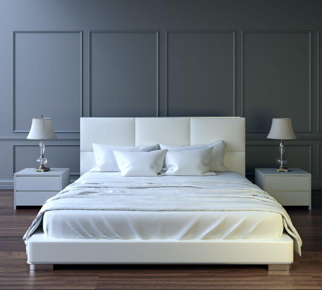 Paredes con listones de madera en dormitorio gris